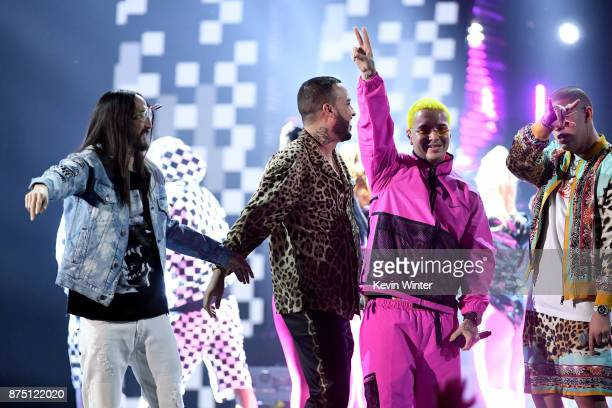 Steve Aoki French Montana J Balvin and Bad Bunny perform onstage at the 18th Annual Latin Grammy Awards at MGM Grand Garden Arena on November 16 2017...