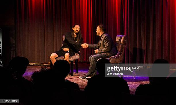 Steve Aoki interviewed by Robin Nixon at The GRAMMY Museum on September 28 2016 in Los Angeles California