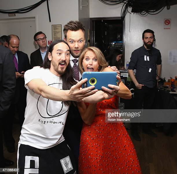 Steve Aoki Joel McHale and Katie Couric attend the 2015 Yahoo Digital Content NewFronts at Avery Fisher Hall on April 27 2015 in New York City