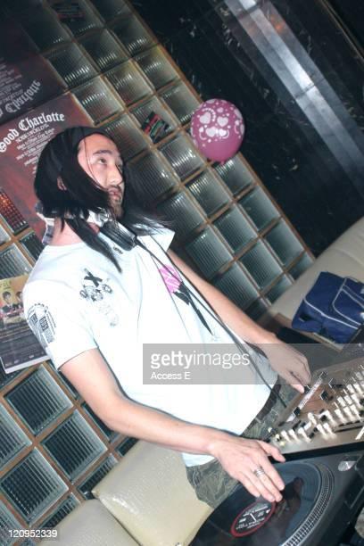 Steve Aoki of Dim Mak Records during Benji Madden of Good Charlotte and Steve Aoki of Dim Mak Records DJ at The Lexington Queen in Tokyo June 28 2005...