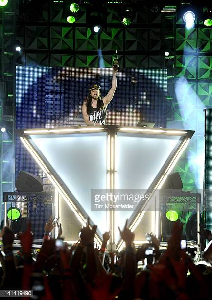 Steve Aoki performs as part of the 2012 mtvU Woodie Awards on March 15 2012 in Austin Texas