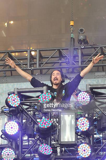 Steve Aoki performs at 2015 VELD Music Festival at Downsview Park on August 1 2015 in Toronto Canada