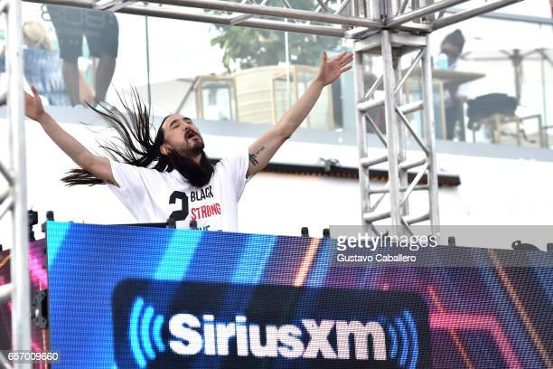 Steve Aoki performs at the SiriusXM Music Lounge at 1 Hotel South Beach on March 23 2017 in Miami Florida