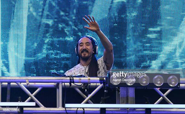 Steve Aoki performs at Ultra Music Festival at Bayfront Park Amphitheater on March 28 2015 in Miami Florida