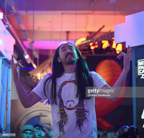 Steve Aoki performs during The MLB Fan Cave Concert Series Presents Steve Aoki at MLB Fan Cave on October 2 2014 in New York City