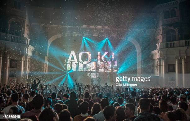 Steve Aoki performs on stage as part of his Neon Future Tour at Brixton Academy on April 4 2014 in London United Kingdom