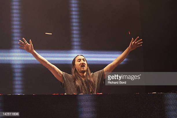 Steve Aoki performs onstage during the Radio FG 20th Anniversary Celebration at Le Grand Palais on April 5 2012 in Paris France