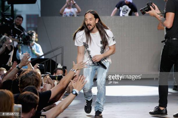 Steve Aoki performs onstage during the Steve Aoki and BUILD Series DIM MAK Collection SS18 'PARADISE FOUND' runway show and 'KOLONY' album release...