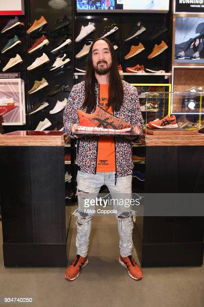 Steve Aoki presents the new HYPERGEL KENZEN designed in collaboration with ASICS at an event on March 19 2018 in New York City
