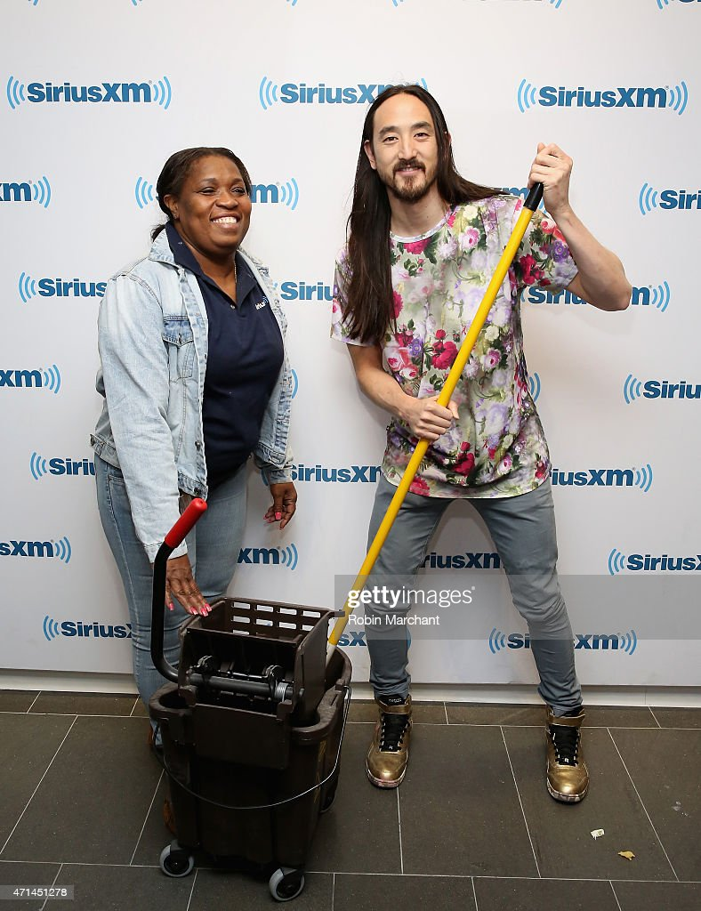 Steve Aoki (R) visits at SiriusXM Studios on April 28, 2015 in New York City.