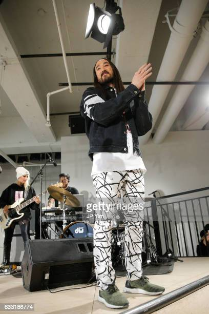 Steve Aoki waves to the guests at the Dim Mak Fall/Winter 2017 Collection during NYFW Men's at Skylight Clarkson North on January 31 2017 in New York...