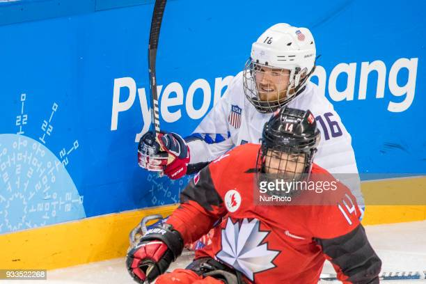 Steve ARSENAULT and Declan FARMER during The Ice Hockey gold medal game between Canada and United States during day nine of the PyeongChang 2018...