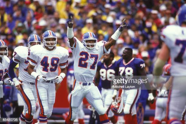 Steve Atwater of the Denver Broncos celebrates a touchdown during a NFL football game against the Buffalo Bills on September 30 1990 at Rich Stadium...