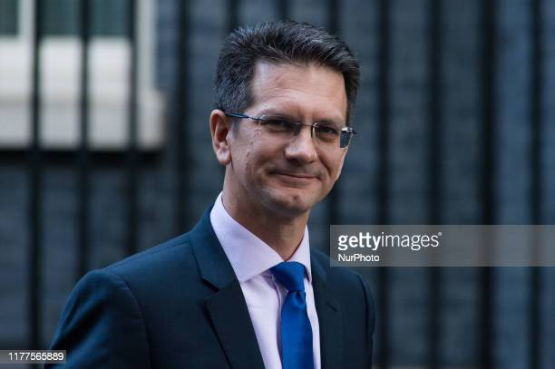 Steve Baker MP leaves Downing Street in central London as members of the European Research Group met with Prime Minister Boris Johnson on 22 October,...