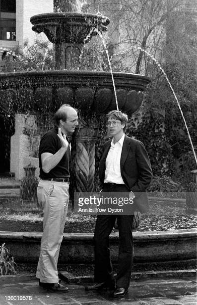 Steve Ballmer and Bill Gates both from Microsoft speak next to a fountain at the annual PC Forum Phoenix Arizona February 1619 1986