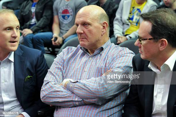 Steve Ballmer attends a basketball game between the Los Angeles Clippers and the Oklahoma City Thunder at Staples Center on January 4 2018 in Los...