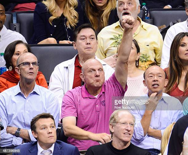 Steve Ballmer attends an NBA playoff game between the Golden State Warriors and the Los Angeles Clippers at Staples Center on April 29 2014 in Los...