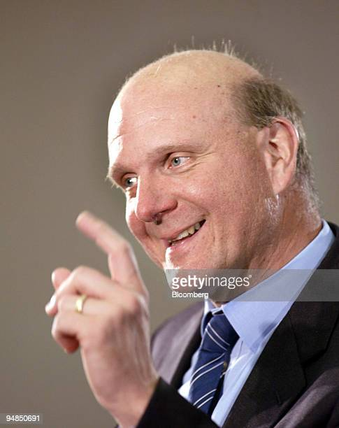 Steve Ballmer CEO Microsoft Corp speaks at the Center for Strategic and International Studies in Washington DC April 7 2004 Microsoft Corp awash with...