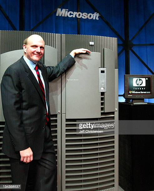 Steve Ballmer CEO of Microsoft with an HP server that will utilize Server 2003