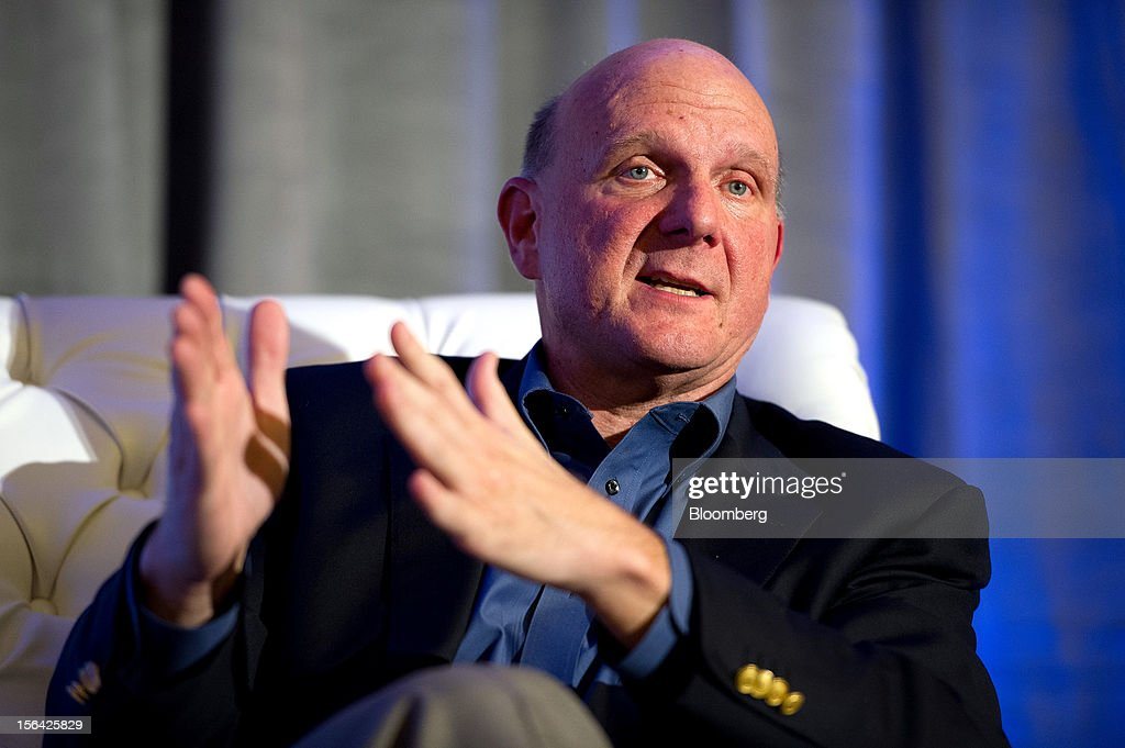 Steve Ballmer, chief executive officer of Microsoft Corp., gestures while speaking during an event at the Churchill Club in Santa Clara, California, U.S., on Wednesday, Nov. 14, 2012. Microsoft Corp's Ballmer said the maker of Windows programs must exploit the opportunity to combine hardware and software as it challenges Apple Inc.'s iPad with the Surface tablet computer. Photographer: David Paul Morris/Bloomberg via Getty Images