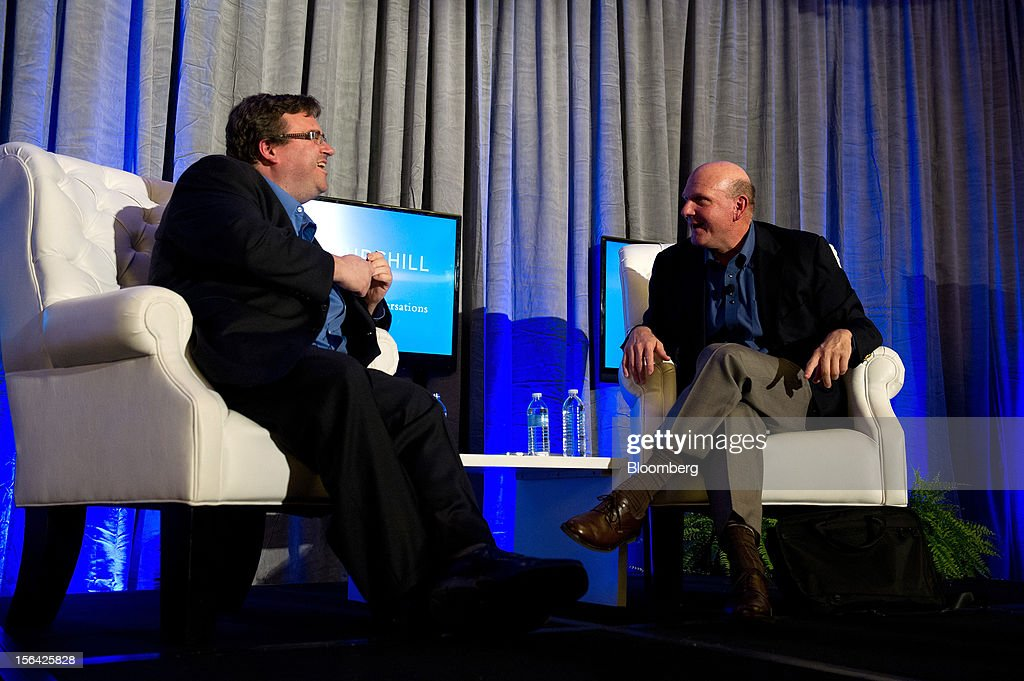 Steve Ballmer, chief executive officer of Microsoft Corp., right, speaks with Reid Hoffman, chairman and co-founder of LinkedIn Corp., during an event at the Churchill Club in Santa Clara, California, U.S., on Wednesday, Nov. 14, 2012. Microsoft Corp's Ballmer said the maker of Windows programs must exploit the opportunity to combine hardware and software as it challenges Apple Inc.'s iPad with the Surface tablet computer. Photographer: David Paul Morris/Bloomberg via Getty Images