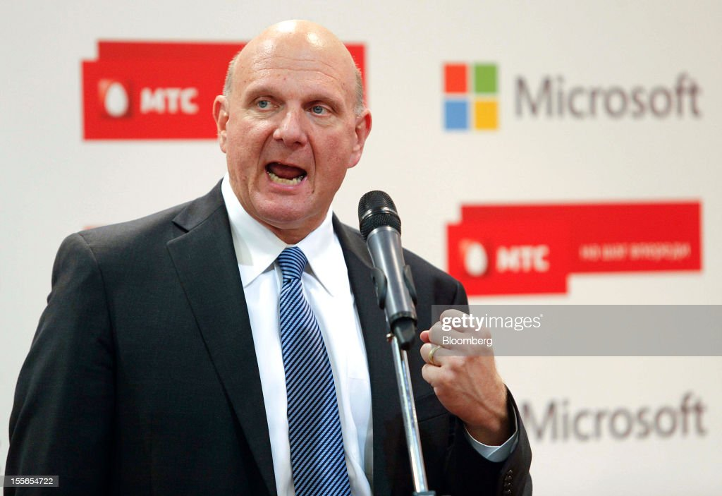 Steve Ballmer, chief executive officer of Microsoft Corp., speaks during the opening of a new Mobile TeleSystems (MTS) store in Moscow, Russia, on Tuesday, Nov. 6, 2012. OAO Mobile TeleSystems will extend cooperation with Microsoft Corp. and plans to sell Windows devices in its 5,000 Russian stores. Photographer: Alexander Zemlianichenko Jr./Bloomberg via Getty Images