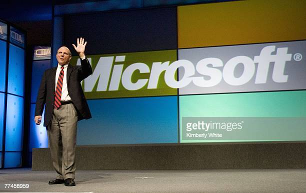 Steve Ballmer Chief Executive Officer of Microsoft Corporation gives a keynote address at the CTIA WIRELESS IT Entertainment 2007 conference October...