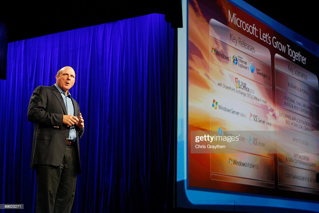 Steve Ballmer, Chief Executive Officer of Microsoft Corporation addresses the Microsoft Worldwide Partner Conference on July 14, 2009 at the Morial Convention Center in New Orleans, Louisiana.