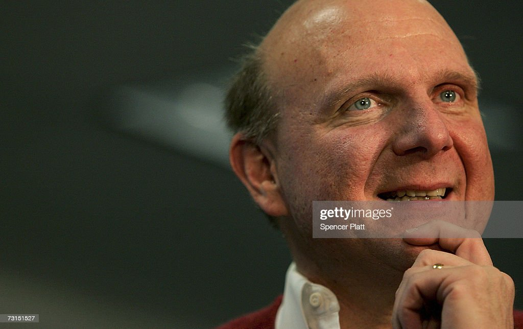 Steve Ballmer, Chief Executive Officer of Microsoft Corporation, visits a Best Buy store and speaks about the new Windows Vista software January 30, 2007 in New York City. Microsoft launched the Windows Vista operating system to consumers today.