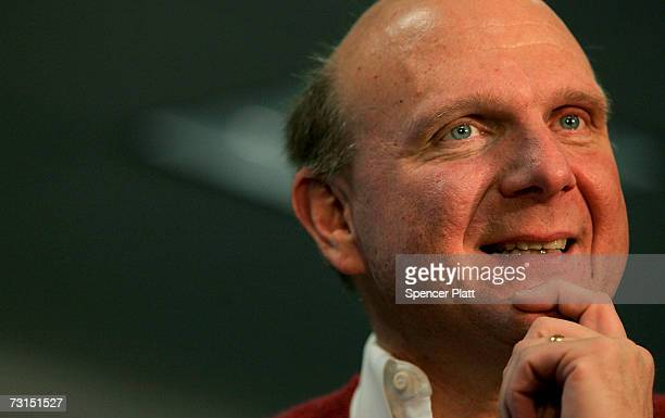 Steve Ballmer, Chief Executive Officer of Microsoft Corporation, visits a Best Buy store and speaks about the new Windows Vista software January 30,...