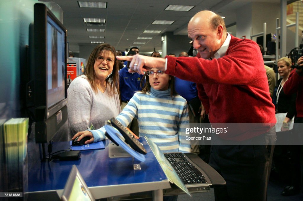 Steve Ballmer, Chief Executive Officer of Microsoft Corporation, visits a Best Buy store and watches Cassidy Mason demonstrate the new Windows Vista software January 30, 2007 in New York City. Microsoft launched the Windows Vista operating system to consumers today.