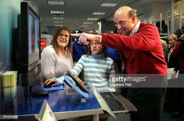 Steve Ballmer, Chief Executive Officer of Microsoft Corporation, visits a Best Buy store and watches Cassidy Mason demonstrate the new Windows Vista...