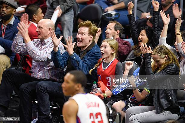 Steve Ballmer Conan O'Brien Neve O'Brien Beckett O'Brien and Liza Powel attend a basketball game between the Houston Rockets and the Los Angeles...