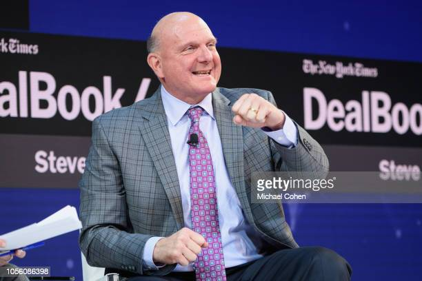 Steve Ballmer, Founder, USAFacts and Former C.E.O., Microsoft speaks onstage during the 2018 New York Times Dealbook on November 1, 2018 in New York...