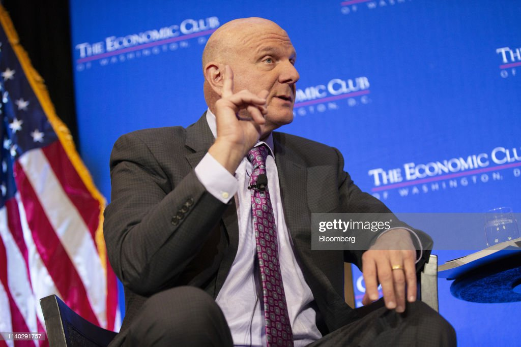 Former Microsoft CEO Steve Ballmer Speaks At Economic Club Of Washington Event : News Photo