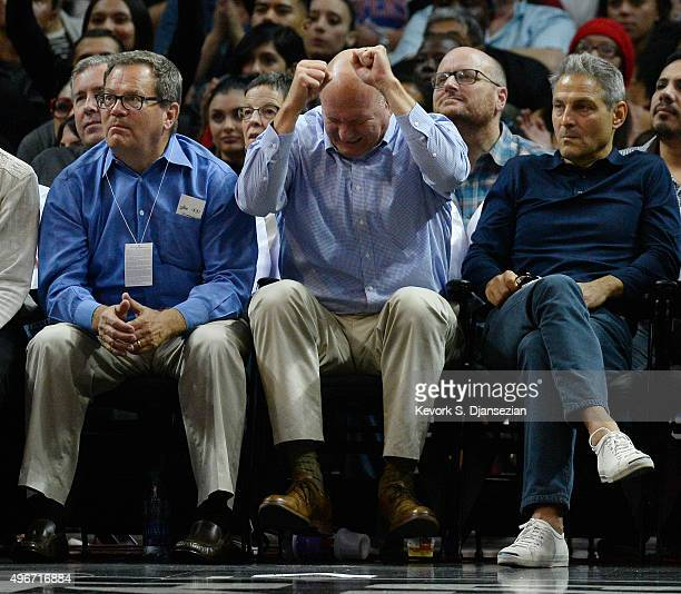 Steve Ballmer owner of the Los Angeles Clippers celebrates as Ari Emmanuel coCEO of William Morris Endeavor talent agency looks on during the...
