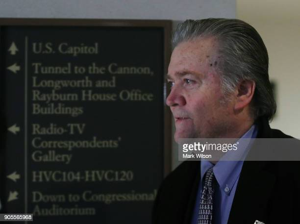 Steve Bannon former advisor to President Trump arrives at a House Intelligence Committee closed door meeting on January 16 2018 in Washington DC The...