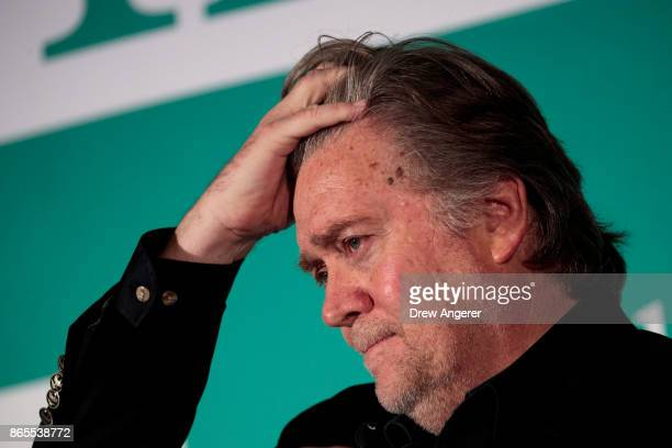 Steve Bannon former White House chief strategist and chairman of Breitbart News attends a discussion on countering violent extremism at the Ronald...