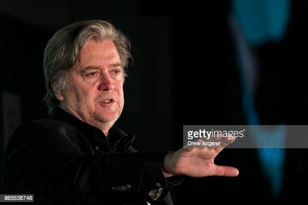 Steve Bannon former White House chief strategist and chairman of Breitbart News speaks during a discussion on countering violent extremism at the...