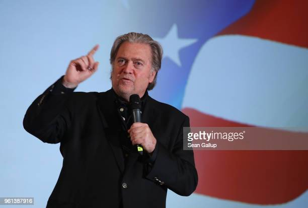 Steve Bannon former White House Chief Strategist to US President Donald Trump speaks at a debate with Lanny Davis former special counsel to Bill...