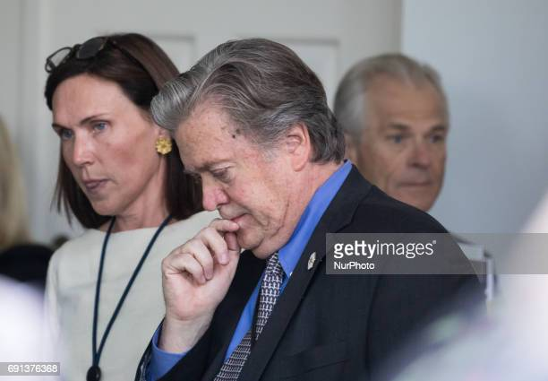 Steve Bannon President Trump's White House Chief Strategist was in attendance for President Trump's announcement that the United States is...