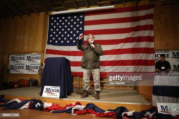 Steve Bannon speaks before introducing Republican Senatorial candidate Roy Moore during a campaign event at Oak Hollow Farm on December 5 2017 in...