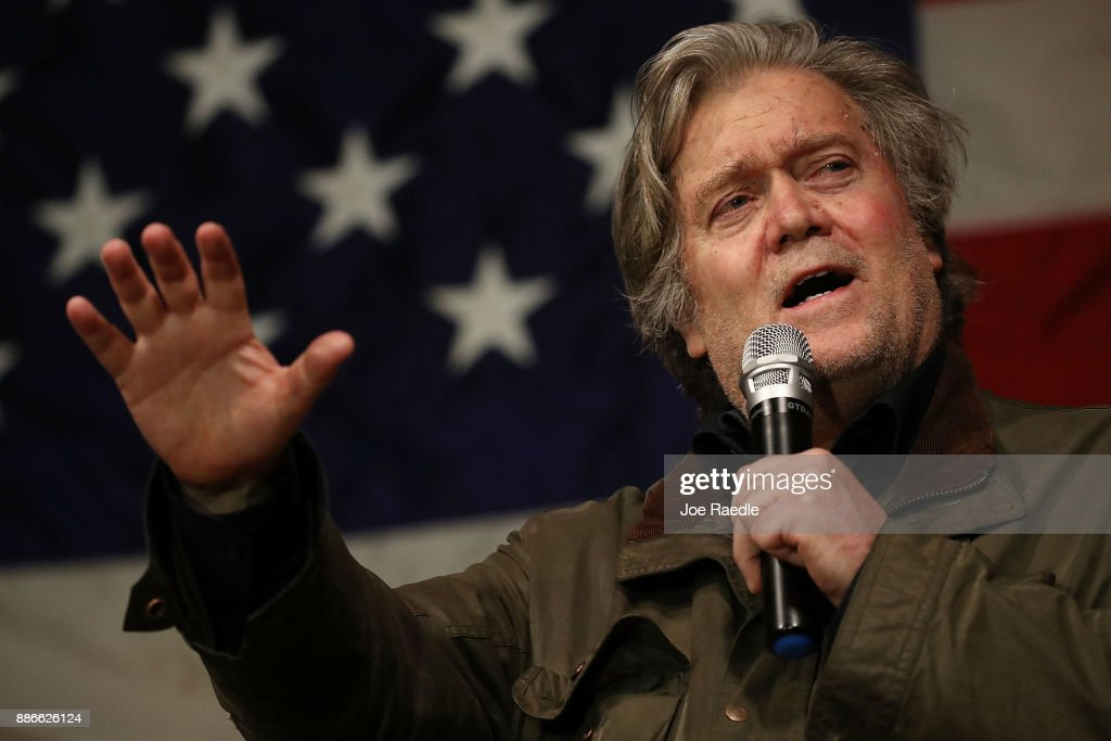 Steve Bannon speaks before introducing Republican Senatorial candidate Roy Moore during a campaign event at Oak Hollow Farm on December 5, 2017 in Fairhope, Alabama. Mr. Moore is facing off against Democrat Doug Jones in next week's special election for the U.S. Senate.