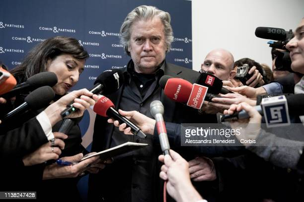 Steve Bannon talks to media during the 'Sovereignism v Europeanism' debate on March 25 2019 in Rome Italy
