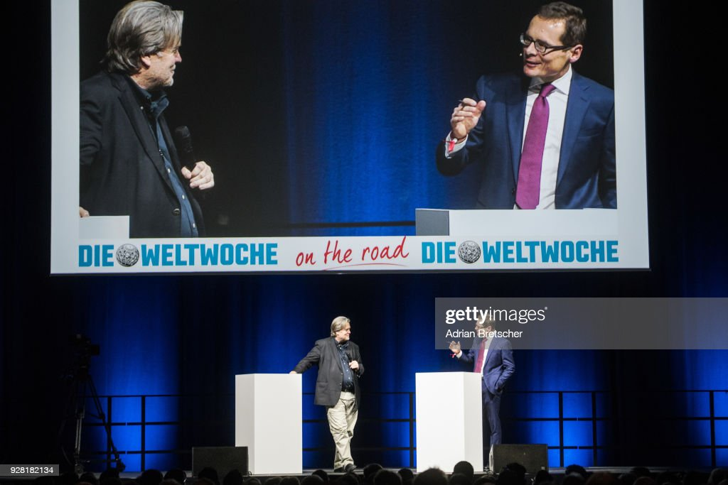 Steve Bannon (L), the former chief strategist for U.S. President Donald Trump, and Roger Koeppel, editor-in-chief of the right-wing Swiss weekly magazine Die Weltwoche, talk onstage at an event hosted by the magazine on March 6, 2018 in Zurich, Switzerland. Bannon is reportedly on a tour to several European countries that included Italy just before the country's weekend election.