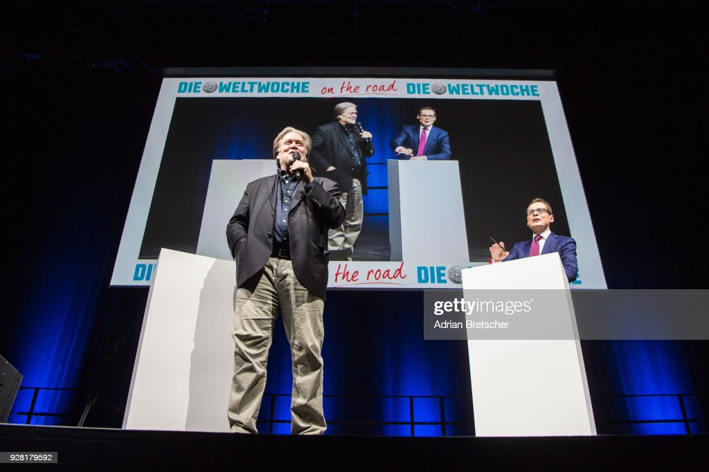 Steve Bannon (L), the former chief strategist for U.S. President Donald Trump, speaks as Roger Koeppel, editor-in-chief of the right-wing Swiss weekly magazine Die Weltwoche, looks on at an event hosted by the magazine on March 6, 2018 in Zurich, Switzerland. Bannon is reportedly on a tour to several European countries that included Italy just before the country's weekend election.