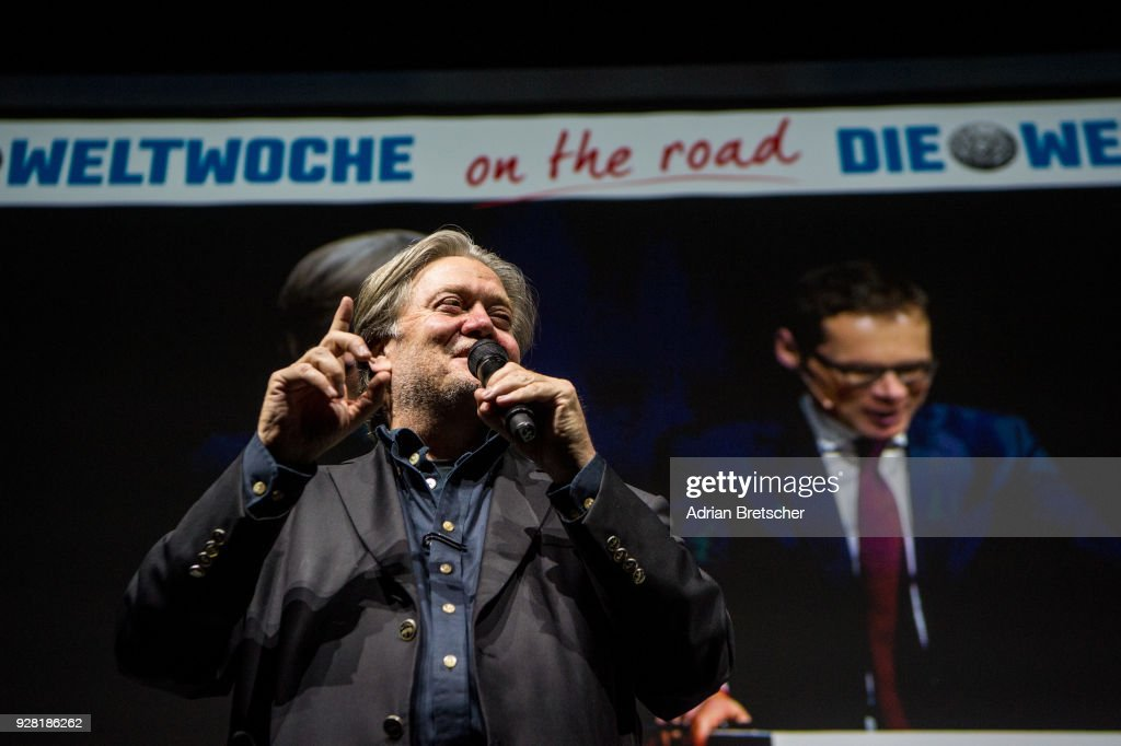 Steve Bannon, the former chief strategist for U.S. President Donald Trump, speaks at an event hosted by the right-wing Swiss weekly magazine Die Weltwoche on March 6, 2018 in Zurich, Switzerland. Bannon is reportedly on a tour to several European countries that included Italy just before the country's weekend election.