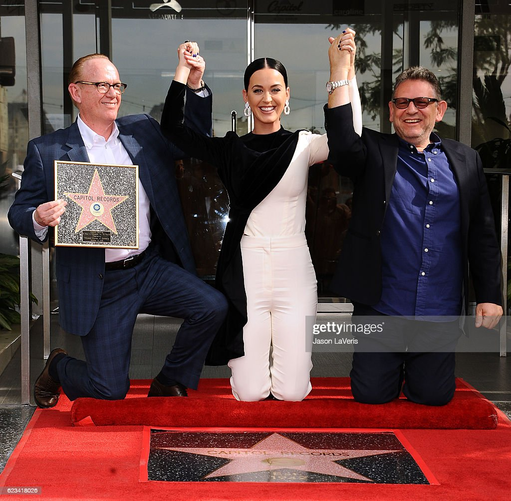 Steve Barnett, Chairman & Chief Operating Officer, Capitol Music Group, singer Katy Perry and Sir Lucian Grainge, Chairman & Chief Executive Officer of Universal Music Group attend the ceremony honoring Capitol Records by the Hollywood Chamber of Commerce with a 'Star of Recognition' at Capitol Records Tower on November 15, 2016 in Los Angeles, California.