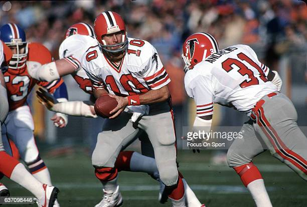 Steve Bartkowski of the Atlanta Falcons in action against the Denver Broncos during an NFL football game December 5 1982 at Mile High Stadium in...