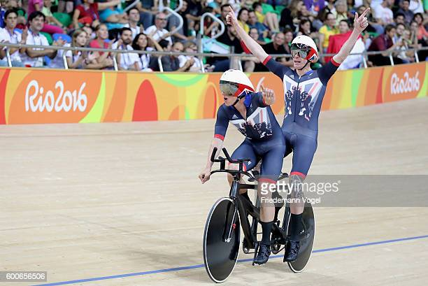 Steve Bate and Adam Duggleby of Great Britain celebrate winning the men's B 4000m individual pursuit track cycling on day 1 of the Rio 2016...